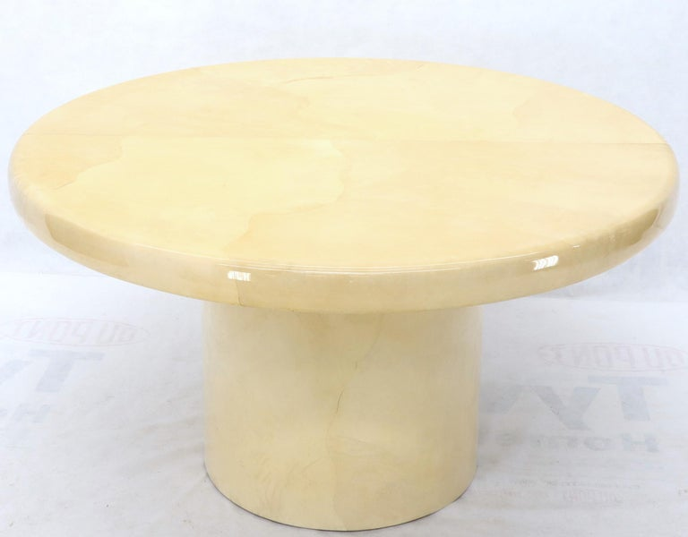 Large Round Lacquered Parchment Goat Skin Cylinder Base Dining Table 2 Leaves For Sale 3