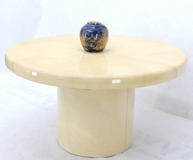 Mid-Century Modern Large Round Lacquered Parchment Goat Skin Cylinder Base Dining Table 2 Leaves For Sale