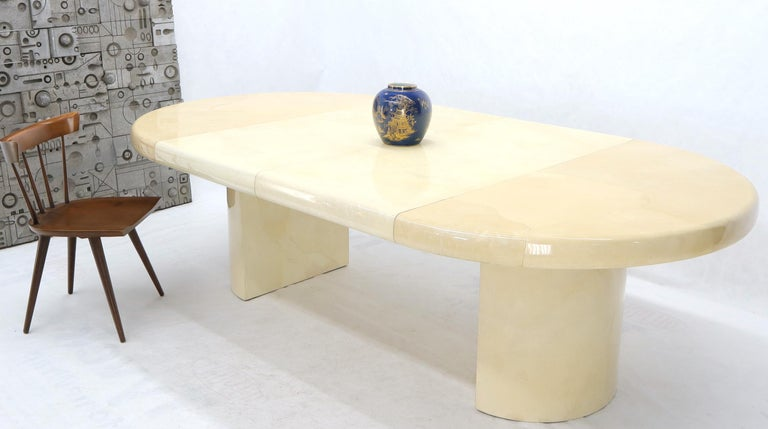 Unknown Large Round Lacquered Parchment Goat Skin Cylinder Base Dining Table 2 Leaves For Sale