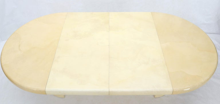 Goatskin Large Round Lacquered Parchment Goat Skin Cylinder Base Dining Table 2 Leaves For Sale