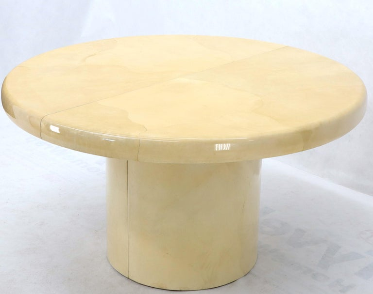 Large Round Lacquered Parchment Goat Skin Cylinder Base Dining Table 2 Leaves For Sale 2
