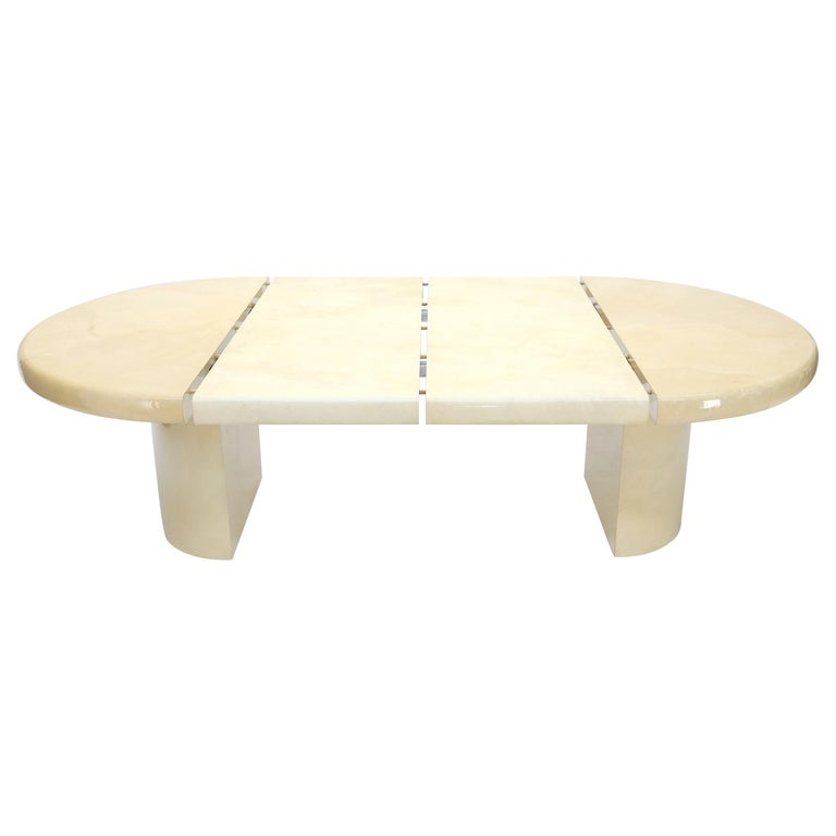 Large Round Lacquered Parchment Goat Skin Cylinder Base Dining Table 2 Leaves For Sale