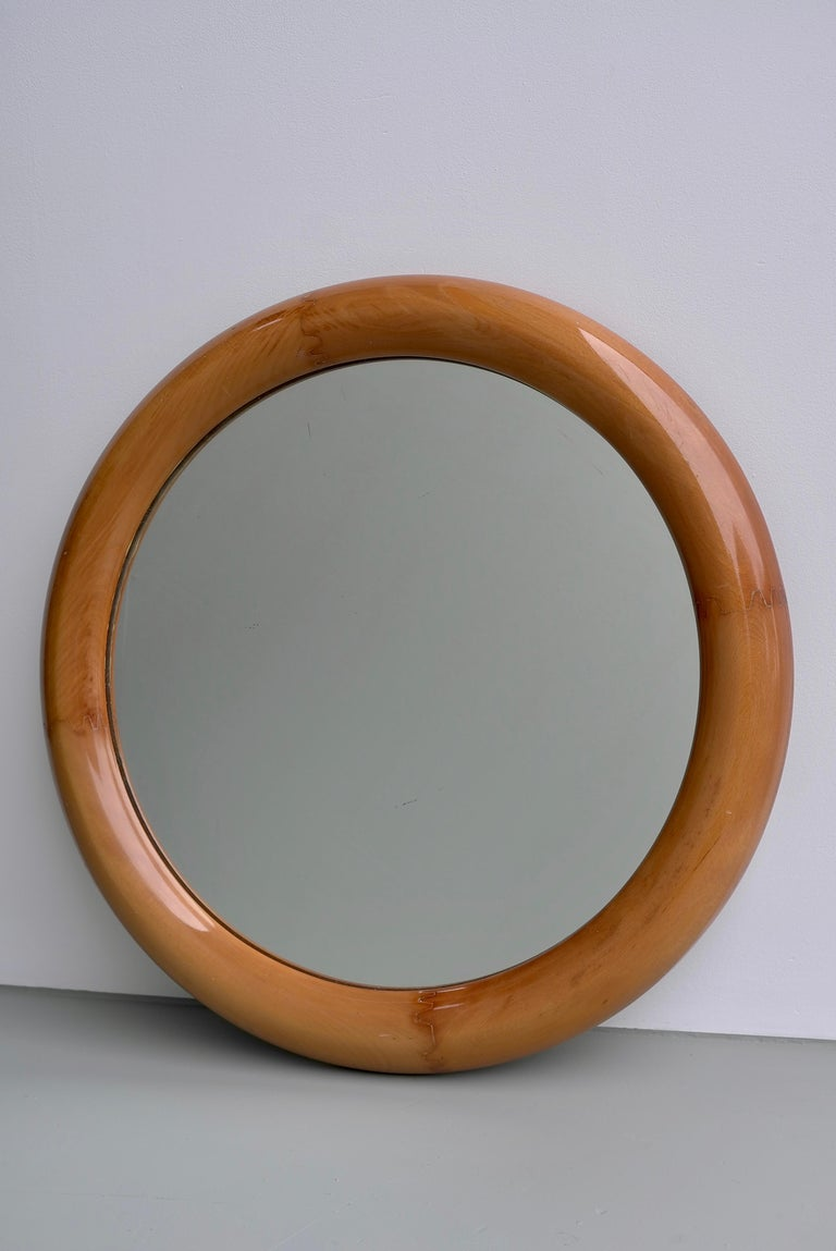 Mid-Century Modern Large Round Mahogany Mirror, France, 1960s For Sale