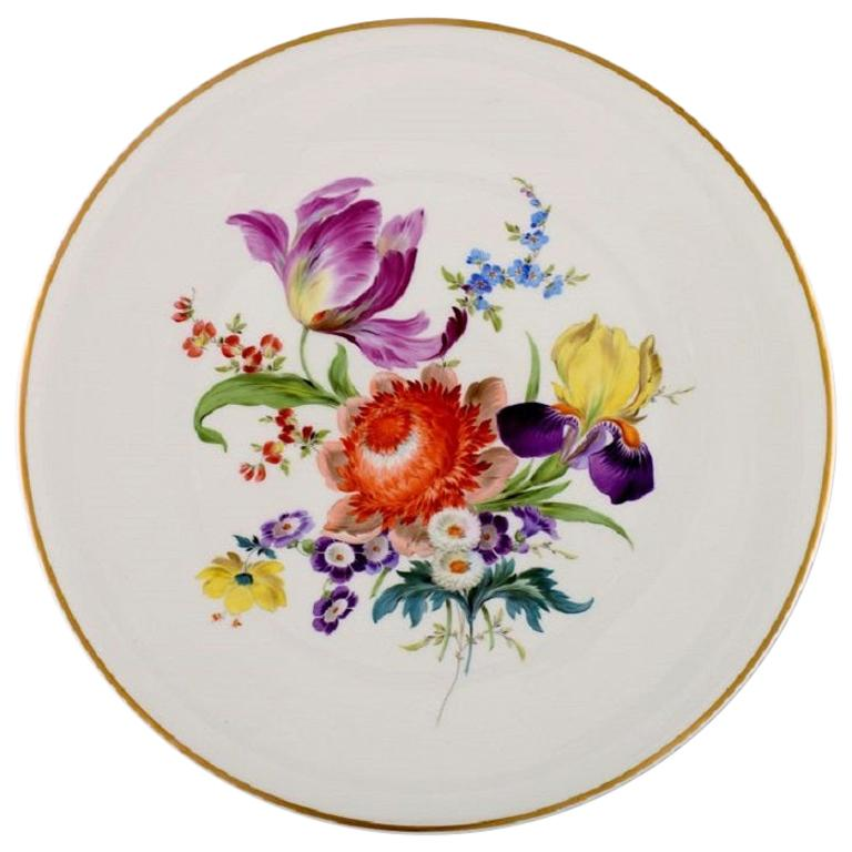Large Round Meissen Dish in Hand Painted Porcelain with Flowers, 20th Century