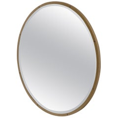 Large Round Metal Frame Wall Mirror with Screw Head Accents