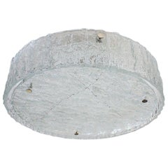 Large Round Midcentury Flush Mount in Heavily Textured Glass by Kaiser Leuchten