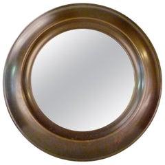 Large Round Mid-Century Modern Brass Mirror