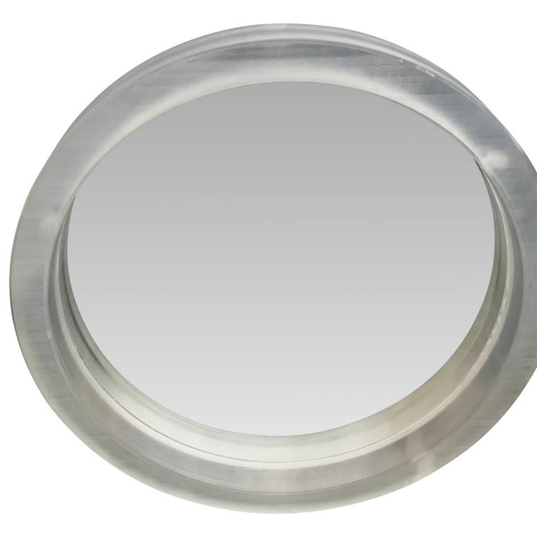 American Large Round Mid-Century Modern Thick Lucite Wall Mirror For Sale