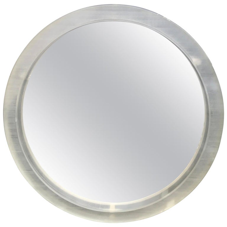 Large Round Mid-Century Modern Thick Lucite Wall Mirror For Sale