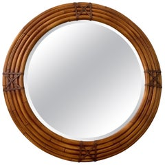 Large Round Midcentury Mirror by Milling Road for Baker in Rattan and Leather