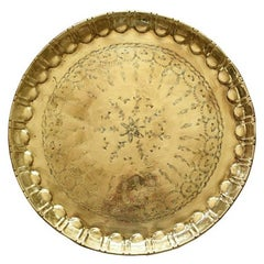 Moroccan Round Hammered Brass Tea Tray