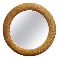 Large Round Mirror with Braided Jute Frame, Pair Available, 1980s