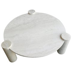 Large Round Organic Three Legged Travertine Coffee Table, Italy, 1970s