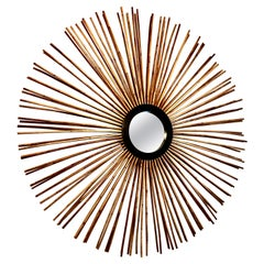 Large Round Pencil Bamboo Mirror by Palecek