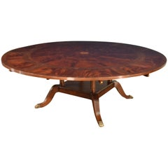 Large Round Perimeter Leaf Mahogany Georgian Style Dining Table by Leighton Hall