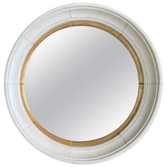 Large Round Pine Mirror with Custom Finish, circa 1970s