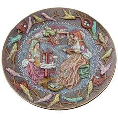 Large Round Plate in Artistic Ceramics Sardinia Paolo Loddo Dorgali Animals