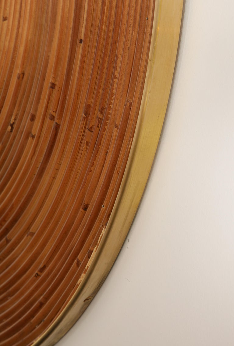 Large Round Reed and Brass Mirror, Italy, 1970s For Sale 4