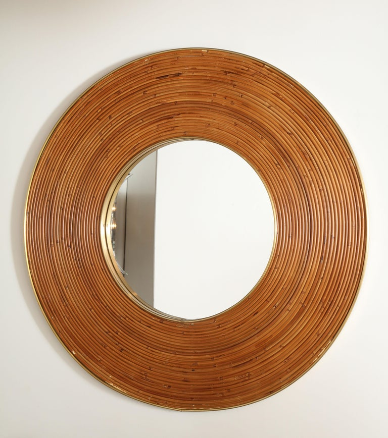 Mid-Century Modern Large Round Reed and Brass Mirror, Italy, 1970s For Sale