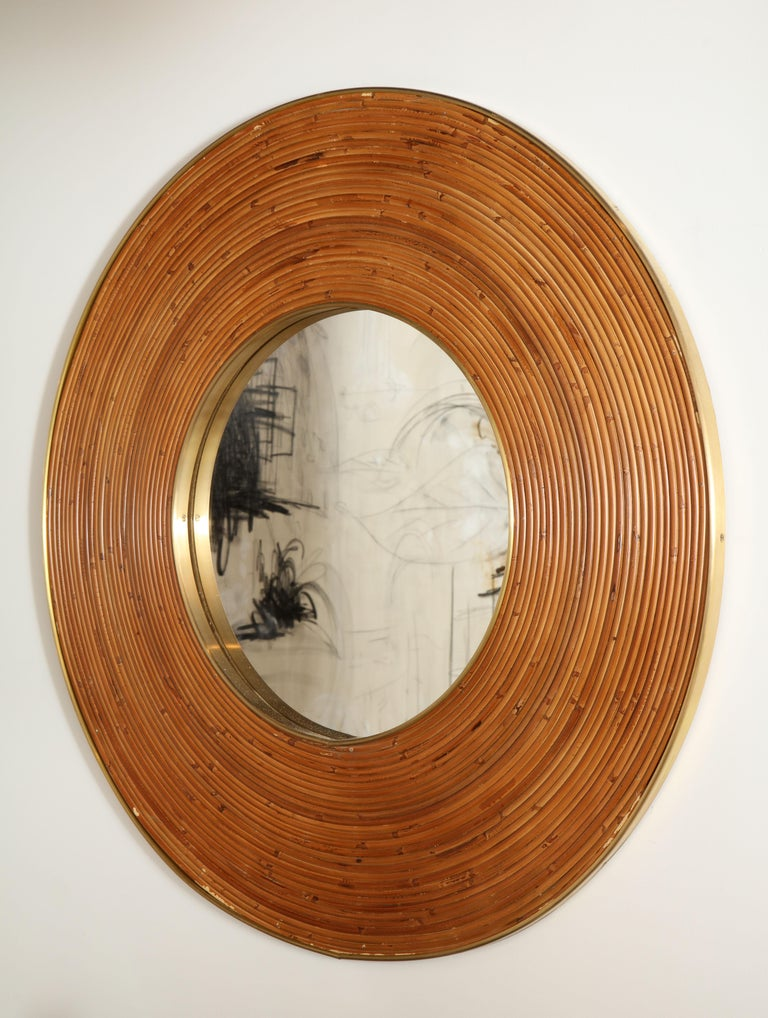 Large Round Reed and Brass Mirror, Italy, 1970s For Sale 2