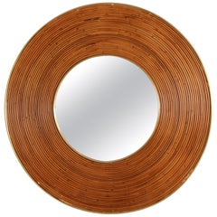 Large Round Reed and Brass Mirror, Italy, 1970s