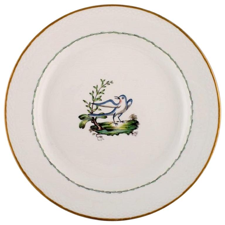 Large Round Royal Copenhagen Dish in Hand Painted Porcelain with Bird Motif