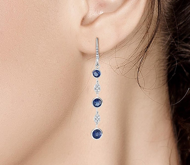 Contemporary Large Round Sapphire Bezel Set Diamond Hoop Drop Earrings Weighing 5.75 Carat  For Sale