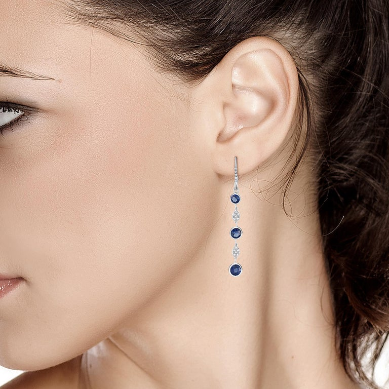 Large Round Sapphire Bezel Set Diamond Hoop Drop Earrings Weighing 5.75 Carat  In New Condition For Sale In New York, NY