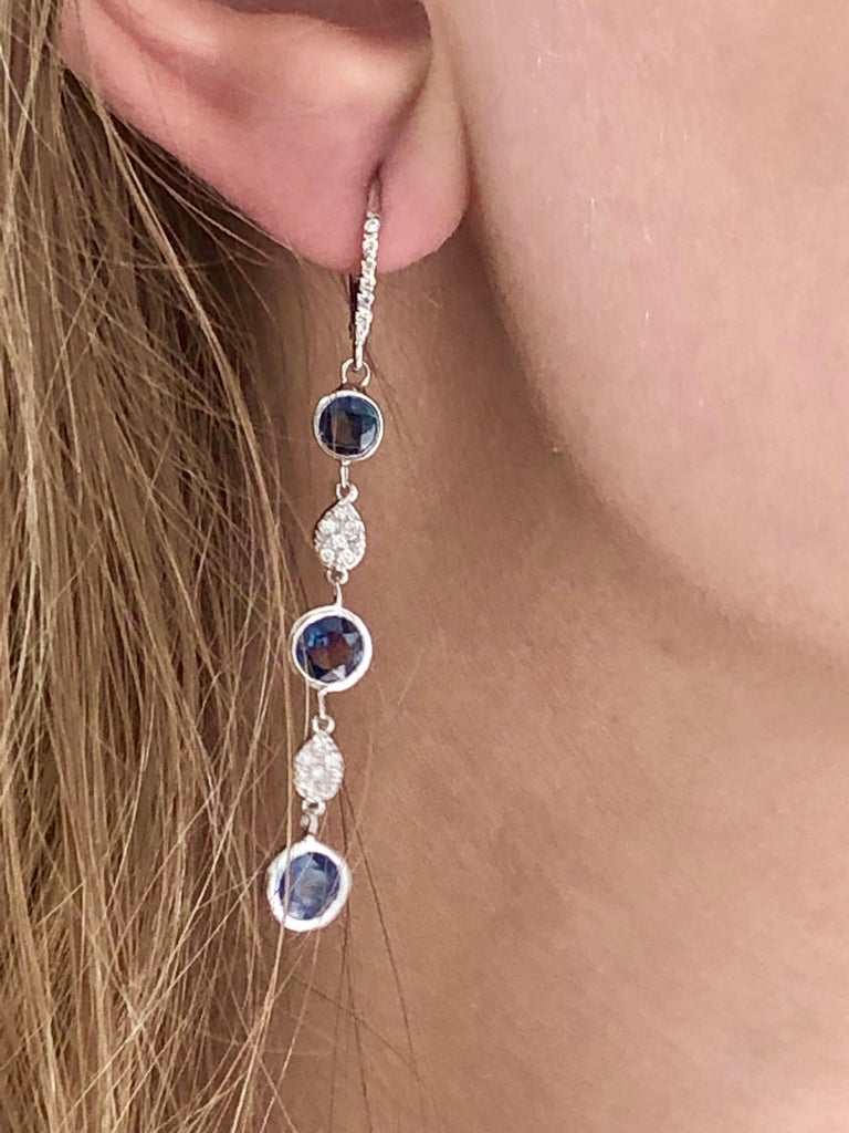 Round Cut Large Round Sapphire Bezel Set Diamond Hoop Drop Earrings Weighing 5.75 Carat  For Sale