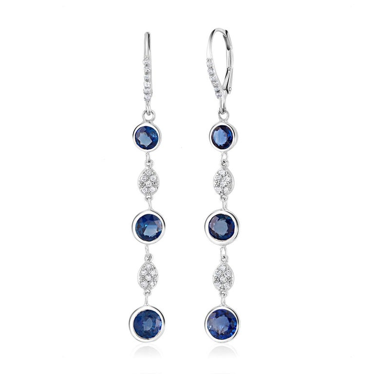 Large Round Sapphire Bezel Set Diamond Hoop Drop Earrings Weighing 5.75 Carat  For Sale 2