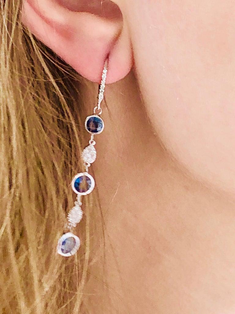 Women's Large Round Sapphire Bezel Set Diamond Hoop Drop Earrings Weighing 5.75 Carat  For Sale