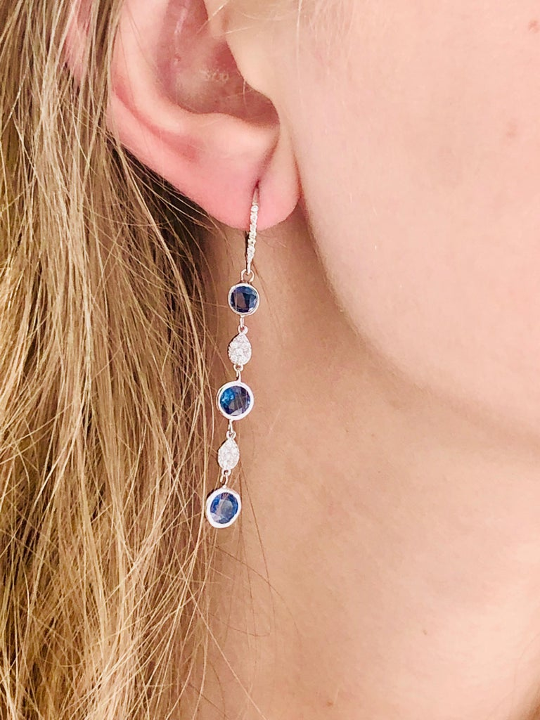 Large Round Sapphire Bezel Set Diamond Hoop Drop Earrings Weighing 5.75 Carat  For Sale 1