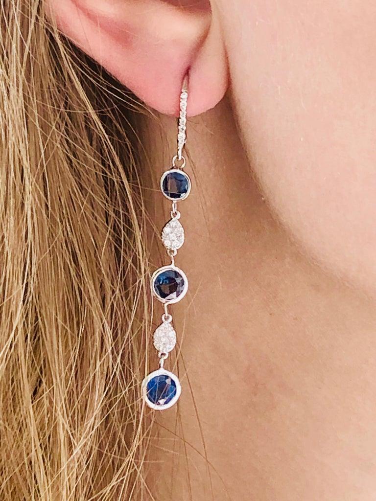Large Round Sapphire Bezel Set Diamond Hoop Drop Earrings Weighing 5.75 Carat  For Sale 3
