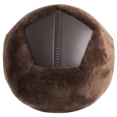 Large Round Shearling Ottoman X in Brown Sheepskin by Moses Nadel