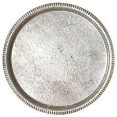 Large Round Silver Aluminum Tea Tray