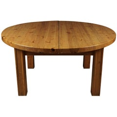 Large Round Solid Pine Dining Table from Sweden, circa 1970