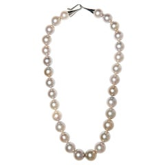 Large Round South Sea Pearl Necklace with Platinum Cone Hk-and-Eye