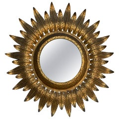 Large Round Spanish Gilt Metal Sunburst Mirror with Back Light
