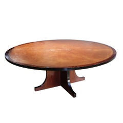 Large Round Spanish Mahogany Dining Table Attributed to Valenti, Barcelona
