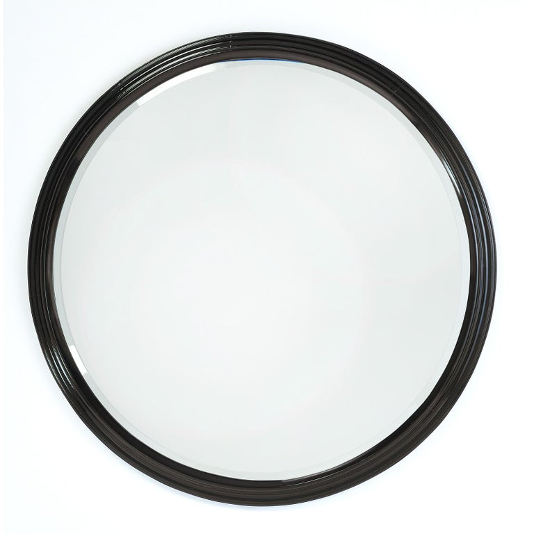 Mid-Century Modern Large Round Stepped Polished Wood Mirror, Italy, 1950s For Sale