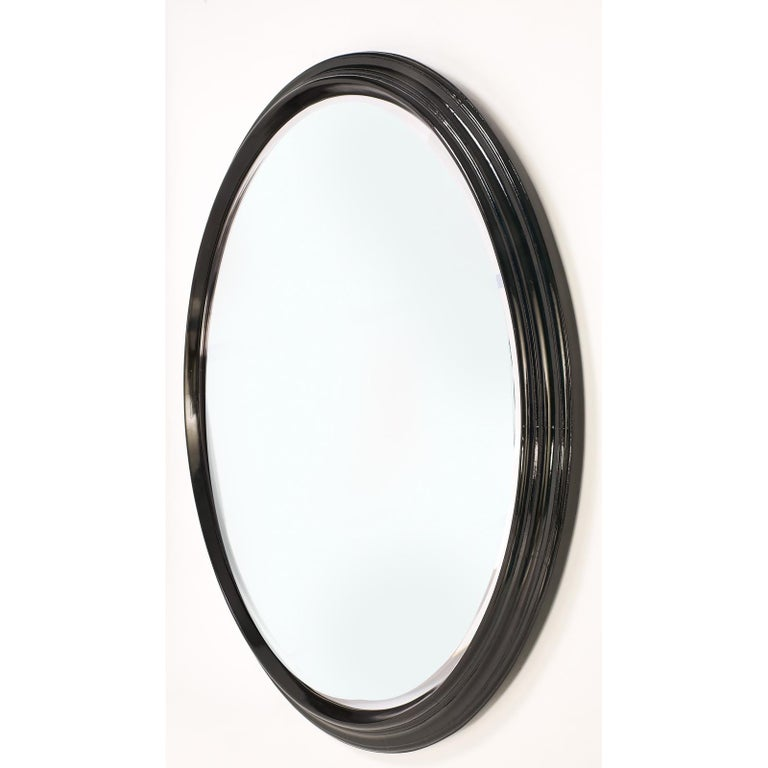 Large Round Stepped Polished Wood Mirror, Italy, 1950s In Excellent Condition For Sale In New York, NY
