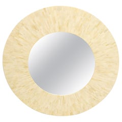 Large Round Sunburst Shape Bone Tiles Mirror