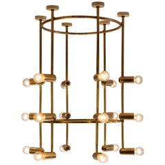 Large Round Swiss Chandelier in Brass