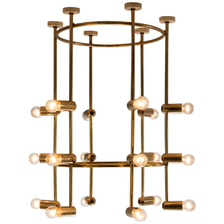 Large Round Swiss Chandelier in Brass For Sale
