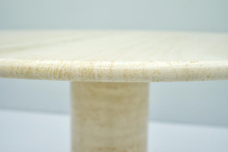 Large Round Travertine Dining Table, Italy, 1970s For Sale 5