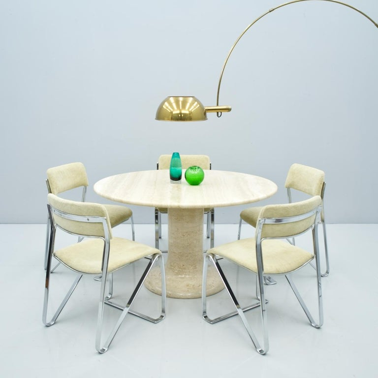 Large Round Travertine Dining Table, Italy, 1970s For Sale 7