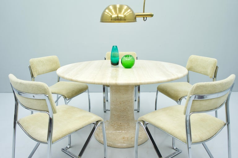 Large Round Travertine Dining Table, Italy, 1970s For Sale 8