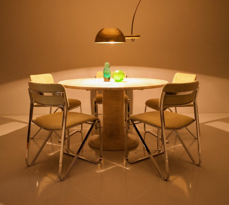 Large Round Travertine Dining Table, Italy, 1970s For Sale 10