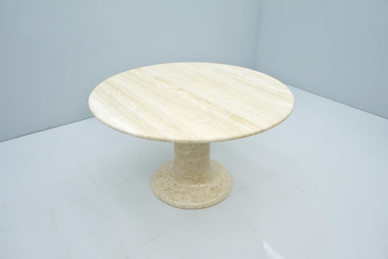 Late 20th Century Large Round Travertine Dining Table, Italy, 1970s For Sale