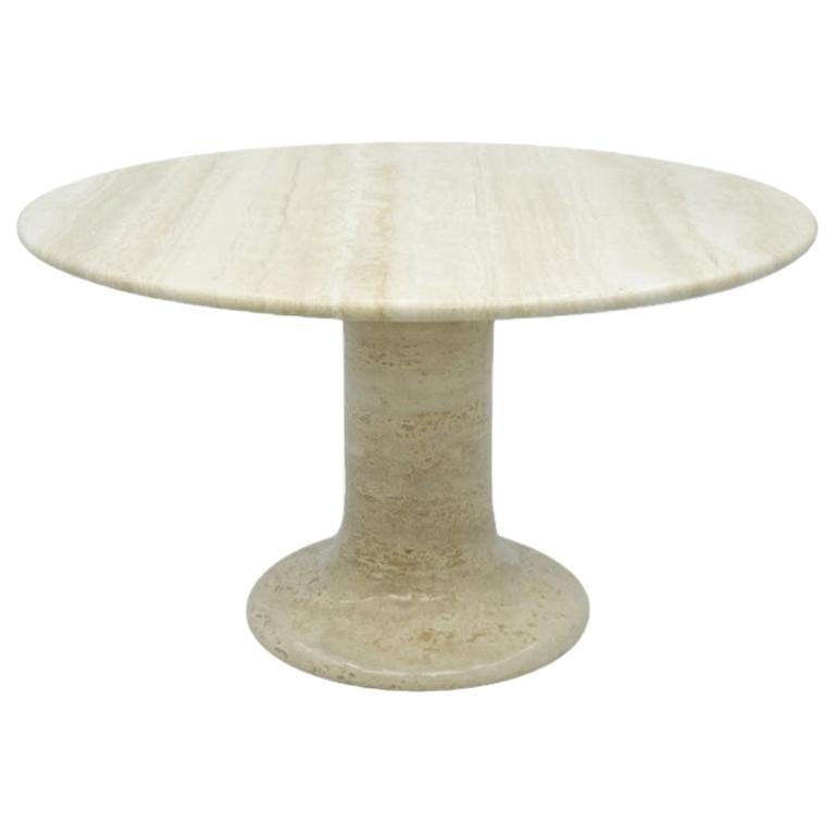 Large Round Travertine Dining Table, Italy, 1970s